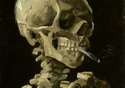 A skull smoking a cigarette Skull of a Skeleton with Burning Cigarette