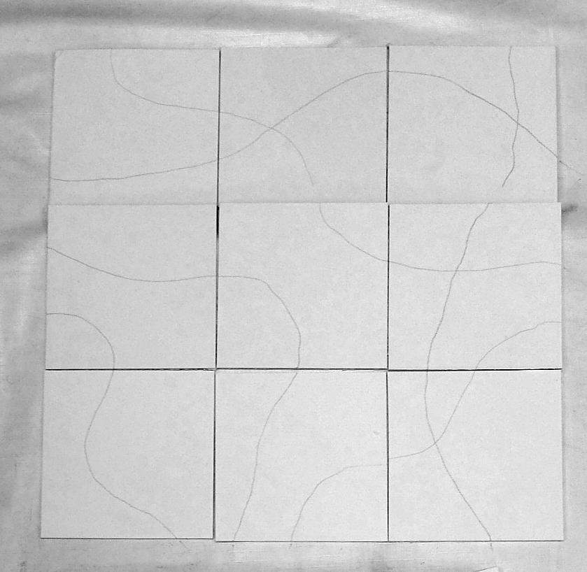 Step 1 - Nine cards with pencil lines