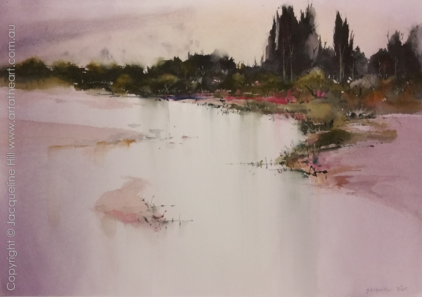 Watercolour & mixed medium painting of Tambo River (c) by Jacqueline Hill