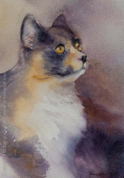Tortie Cat watercolour painting